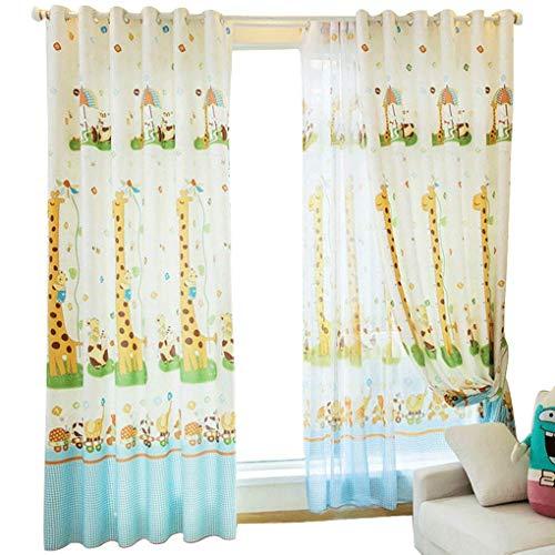 RR & LL gordijnen Koreaanse cartoon-stijl blauwe burg katoen en linnen geborduurde kinderkamer gordijnen woonkamer kant-en-klare schaduw cartoon gordijnen (grootte: breedte 200 hoogte 270 cm (gordijn)) Width 200*height 270cm (curtain) 5