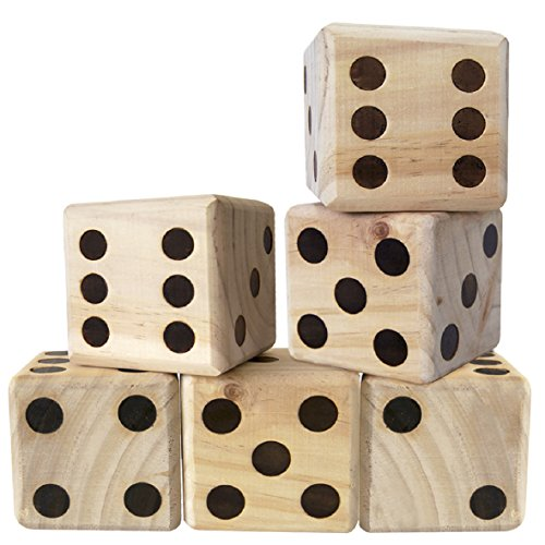 EasyGoProducts Large DICE Game – Giant Wooden Yard DICE Set – DICE with Bag DICE Games Kids – Great Lawn and Family Game
