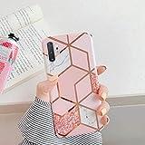 Herbests Compatibile con Samsung Galaxy Note 10 Plus Cover Silicone Morbida Custodia TPU Bumper Protettiva Case Cuciture di Placcatura Marmo Antiurto Slim Soft Case,Marmo-2