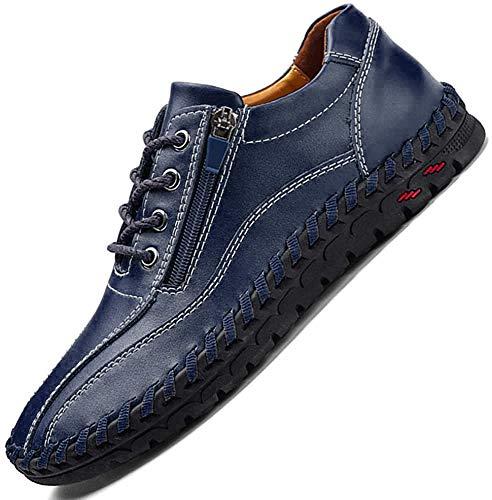 JEBU Men's Handmade Zipper Casual Leather Work Driving Non-Slip Slip-on Loafers Adjustable Shoes Blue 45