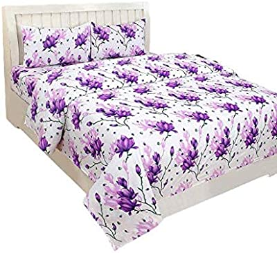 IVAZA 3D Printed 144 Tc Glace Cotton Bedsheet for Double Bed with 2 Pillow Covers Size-88x88 Inches