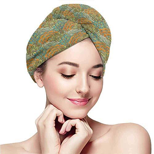 Xarchy Toallas de Microfibra para Mujer, Floral, Meadow Wheat Peacock