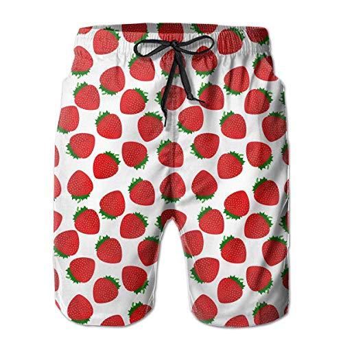 Preisvergleich Produktbild KLYDH Strawberry On White Pattern Men's Beach Shorts Lightweight Beachwear, Size:Medium