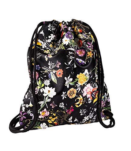 SIX Damen Tasche, Rucksack, Turnbeutel, Floral, Lederoptik, Kordeln, schwarz, Multi, Silber (726-573)