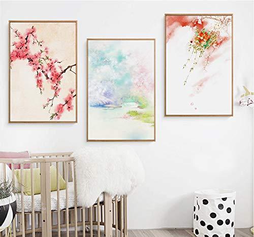 MMLFY 3 opeenvolgende schilderijen 30x40cm3stks zonder frame kleine verse bank landschap schilderij woonkamer decoratieve schilderijen 3 stuks Modulaire Beeld Muur Kunst Schilderen