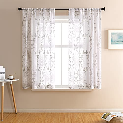 Sheer Curtains 54 x 45 inch Short Floral Printed Living Room Gray Damask Print Bedroom Scroll Paisley Small Curtain Sheers Rod Pocket Kitchen Flower Window Treatment Set 2 Panels Grey on White
