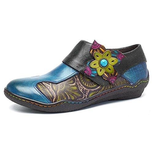 Socofy Damen Leder Loafer Schuhe Klassische gedruckt Spleißen Schuhe für Damen Reißverschluss Vintage Vintage Schuhe Casual Outdoor und Indoor Wanderschuhe Durable Herbst Retro Frauen Loafers
