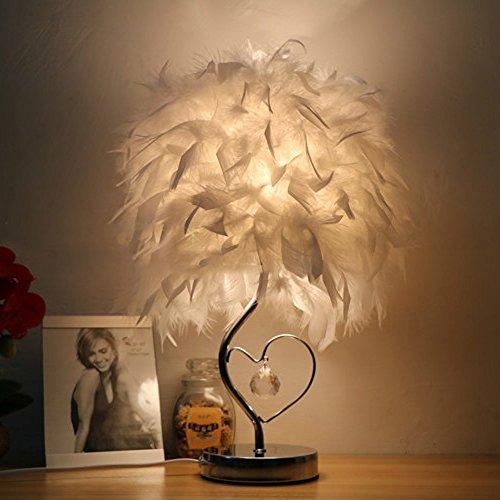 Lámpara de mesa de plumas lámpara de cabecera de dormitorio simple y moderna lámpara de mesa de noche de princesa europea creativa romántica lámpara de cabecera caliente con cristal (Tamaño : S)