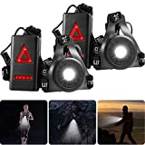 2 Pieces Night Running Lights Chest Running Light USB Rechargeable LED Chest Light with Safety Warning Lamp Waterproof Running Gear for Runners Outdoor, Walking, Running, Camping, Jogging, Hiking