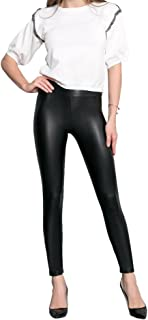ROBERT MATTHEW Faux Leather Leggings - Bodacious High Waisted Tummy Control Fashion Leggings for Women