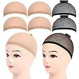 FANDAMEI 6 Stück Perückenkappe Perücke Kappen Haarnetz Perücke Set Nylon Wig Caps Perückennetz...