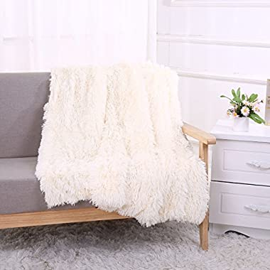YOUSA Super Soft Shaggy Faux Fur Blanket Ultra Plush Decorative Throw Blanket 51''63'',Cream White