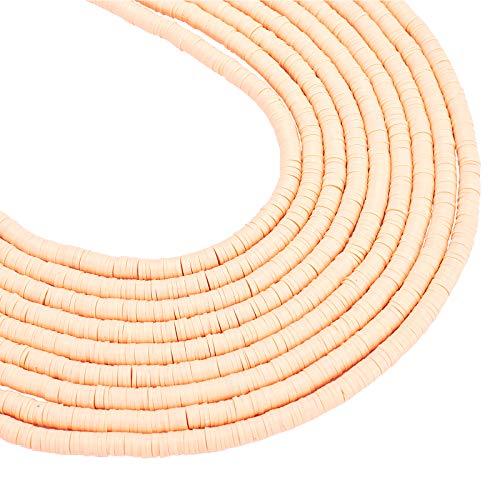 NBEADS Perline di Heishi Perline A Forma di Piatto di Argilla Polimerica Tonde Fatte A Mano A 10 Capo per Creazione di Gioielli Fai-da-Te, 6x1mm, Foro: 2 mm, Circa 380pcs/Filo, Peachpuff