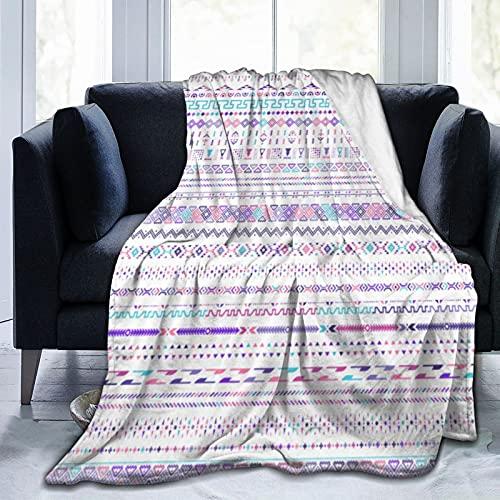 Manta super suave,Diseño de patrón de vector de motivos geométricos étnicos coloridos,Manta de felpa suaves y esponjosa para sofá cama y sala de estar adecuada para todas las estaciones 150x125cm