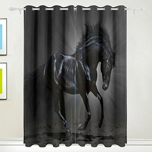 Cosun Black Horse Blackout gordijnen verduistering thermisch geïsoleerd polyester Gordijn voor slaapkamer, woonkamer, 2 panelen (55 Watt x 84 l)