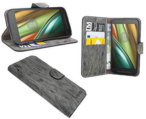 cofi1453 Elegante Buch-Tasche Hülle kompatibel mit Lenovo Motorola Moto E3 in Anthrazit Leder Optik Wallet Book-Style Cover Schale