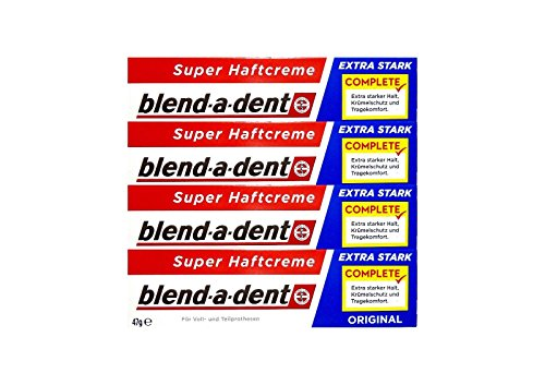 4 x 47g blend-a-dent Original Super Haftcreme - Extra Stark - Complete