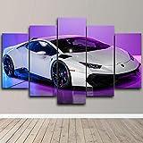 QWASD 5 Paneles Cuadros En Lienzo Imágenes Decorativas Lamborghi Neon White Super Car Cuadros Decoracion Salon Modernos 3D,5 Piezas De Lienzo,Impresiones En Lienzo Decoración para El Arte