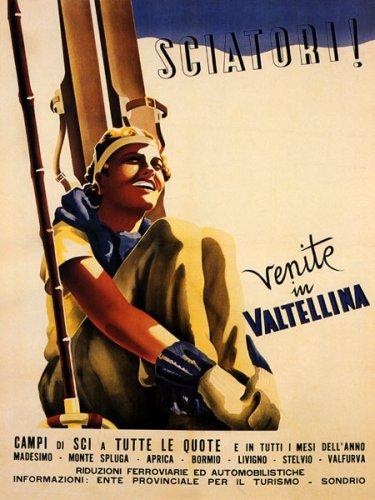 "ITALIAN GIRL SKI WINTER SPORT SCIATORI VENITE VALTELLINA EUROPE ITALY ITALIA 12"" X 16"" VINTAGE POSTER REPRO"