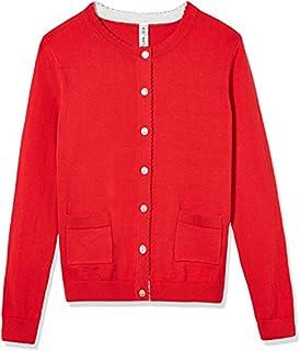 Kid Nation Girls' Long Sleeve Cotton Cardigan with Pockets Sweater Classic School Uniform Crew Neck