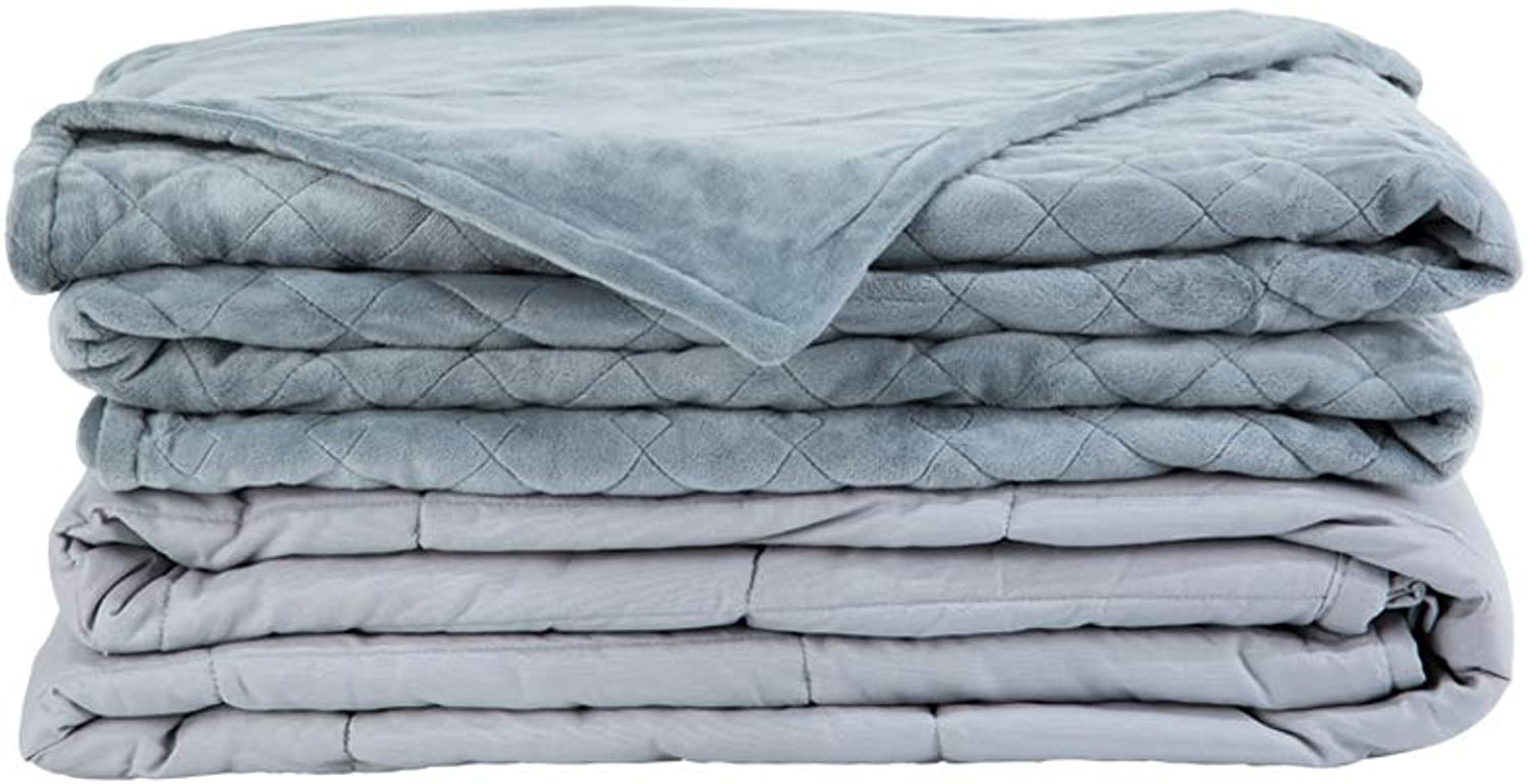 Weighted Idea Soft Weighted Blanket with Removable Cover Adult 15 lbs   60''x80''   Grey Rhombus