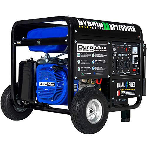DuroMax XP12000EH Dual Fuel Portable Generator - 12000 Watt Gas or Propane Powered-Electric Start- Home Back Up & RV Ready, 50 State Approved,Blue and Black