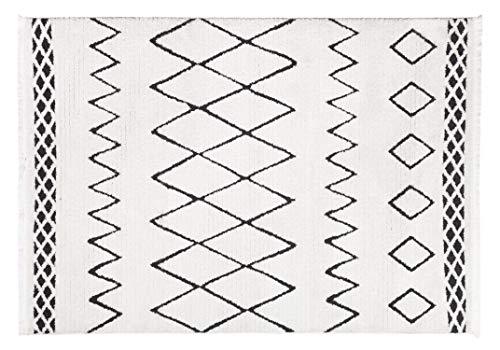 Vivense Shana Alfombra de diseño nórdico para salón y dormitorio, polipropileno, Crema y negro., 160 x 230 cm