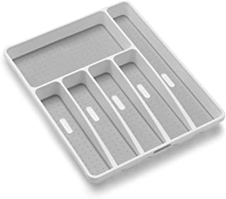 madesmart Classic Large Silverware Tray - White  CLASSIC COLLECTION   6-Compartments  Kitchen Drawer Organizer   Soft-Grip...