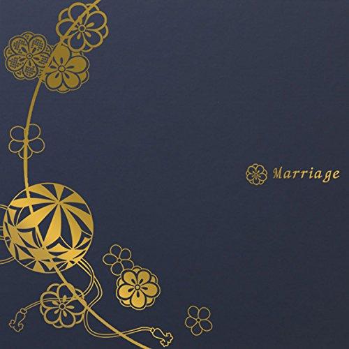 写真台紙 3面2l【まり 紺『Marriage』ゴールド箔 中枠白色】 3面2L 手作り 無地 中枠付き アルバム 結婚 お祝い 結婚祝い 婚礼 結婚式 ブライダル ウエディング 記念写真 家族写真 親族 親戚 ギフト 日本製