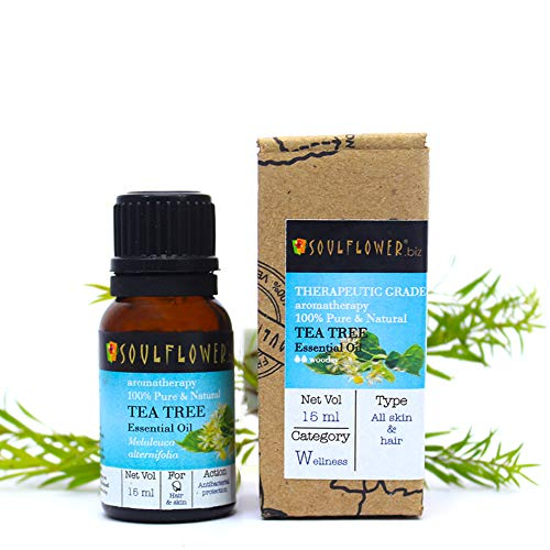 Soulflower Tea Tree Essential Oil, 15ml Undiluted, 100% Natural for Acne, Pimples, Dandruff & Under arm -Therapeutic Grade for aromatherapy