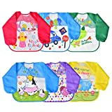 Towinle 6er Pack Baby Lätzchen mit Ärmeln Wasserdicht Baby Fütterung Lätzchen Unisex Baby Schürze (Baby Lätzchen)