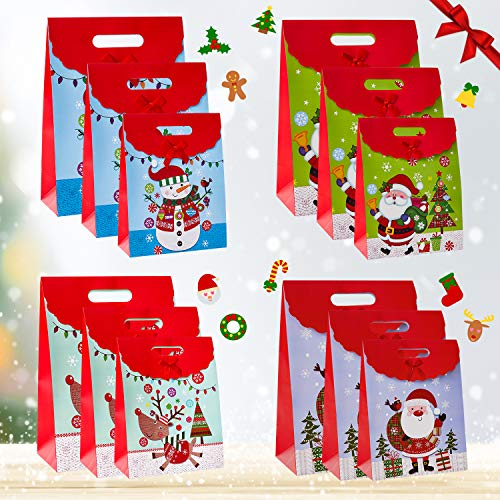 Christmas Gift Bags Assorted Sizes, Holiday Gift Bags with Handle, Xmas Theme Gift Wrapping Bags, Reuseable Classrooms Party Favors Decoration, Holiday Wrap Décor (12PCS)