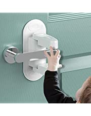 [2 Packs-Upgrade] BOOTWO Childproof Door Lever Lock,Prevents Toddlers from Opening Doors,Easy One Hand Operation for Adults,Durable ABS with 3M Adhesive Backing,Simple Install,No Tools Needed