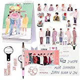 Bangtan Boys 2021 Calendar Set, 1 Desk Calendar 40 Stickers 1 Pen 1 Phone Ring 1 3D Sticker 1 Tattoo Sticker