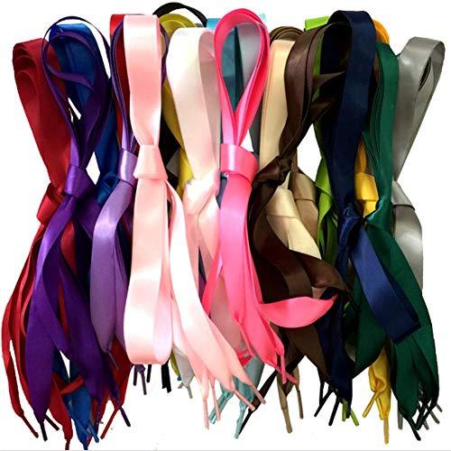ISKYBOB 15 Paires Lacets de Chaussure en Soie Ruban de Satin Doux Cordons de Souliers Plat pour Femmes Filles Baskets Décoration, 1.2M / 47.24Pouces