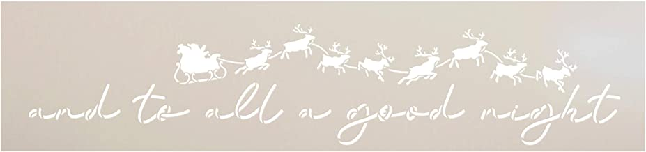 to All a Good Night Stencil by StudioR12 | Santa's Sleigh with Reindeer | Reusable Mylar Template | DIY Holiday Decor Christmas Gift | Paint Wood Signs | Home Crafting | Select Size (30
