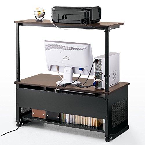 サンワダイレクトパソコンデスクロータイプ幅100cm収納棚付キャスター付きローデスク100-DESK089