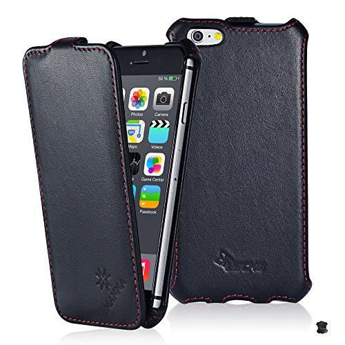 LEICKE MANNA - Apple iPhone 6 (4.7 pollici) Pregiata custodia protettiva per con apertura Flip in vera pelle Nappa Nera con cuciture rifinite a mano