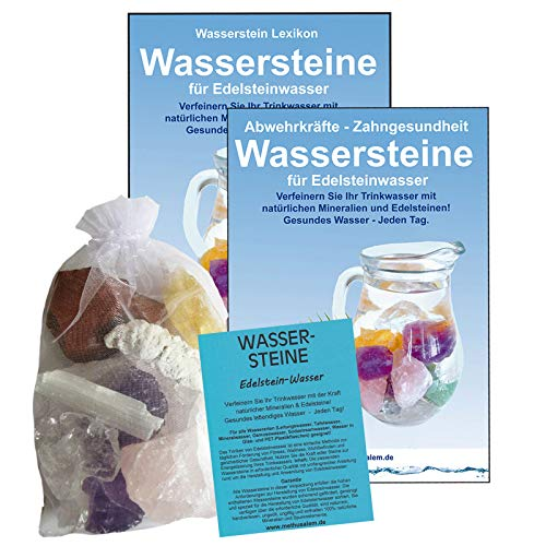 EDELSTEINE für WASSER ANTI-STRESS RELAX 4-tlg SET. 300g WASSERSTEINE zur Wasseraufbereitung für Trinkwasser + Anleitung Wasser-Energetisierung + Booklet + Zubehör. 90033