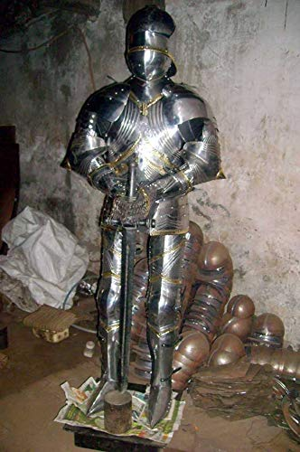 Marine Gift Shop SCA LARP Wearable Medieval Knight Combat Armor Full Suit with Stand 6 FEET TK110