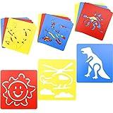WakiHong 18 Piezas Plantillas de Dibujo Plantillas Dibujo para Niños Plantillas para Pintar, Diferentes Plantillas Dibujo para Niños DIY Dibujo, para Aprenden a Dibujar de Forma Divertida
