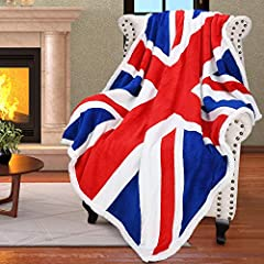 Designed in the U.S.A, Soft polar fleece with England national flag pattern on one side, plush fuzzy Sherpa fleece on the other. Wrap yourself in a cloud of softness. Super soft and cozy, made of 100% premium microfiber polyester for soft touch , lig...