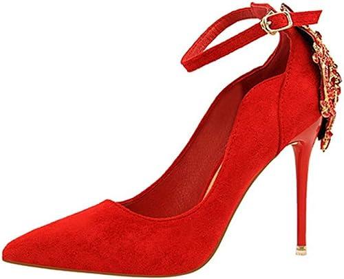 Stiletto Sexy Ladies Ladies Ladies chaussures Chaussures en Daim Bouche Peu Profonde Pointu Strass Chaussures Cheville Sangle Chaussures Party & Soir (Couleur   Une, Taille   38) d7a