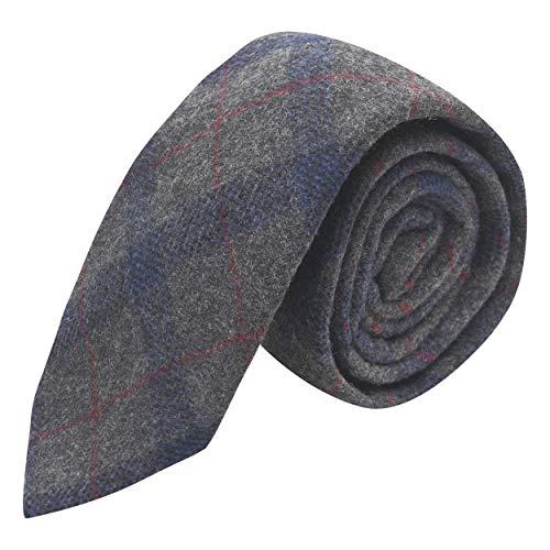 King & Priory Corbata de cuadros gris y azul, de tweed, tartán, a cuadros