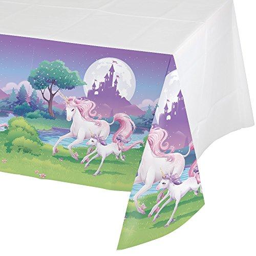 Creative Converting tafelkleed, kunststof, eenhoorn, fantasie-borduur, 137 x 274 cm