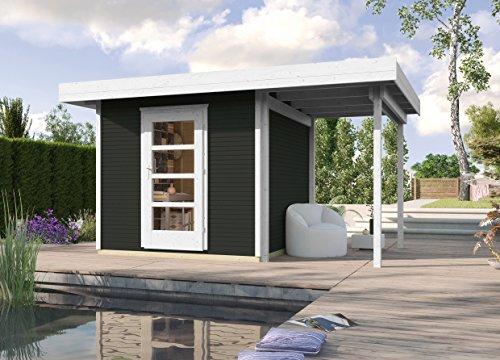 weka Holzbau GmbH Weka Designhaus wekaLine 172 A Gr.2, Anthrazit, 28 mm, ET, Anbau 150 cm Casetta da Giardino, Antracite, 429 x 316 x 226 cm
