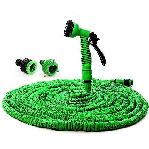 HKU Manguera de jardín de 25/50/75/100 pies, Manguera de Agua Flexible expandible, tubería de riego con Pistola rociadora para riego de jardinería (Color : 25FT Green)