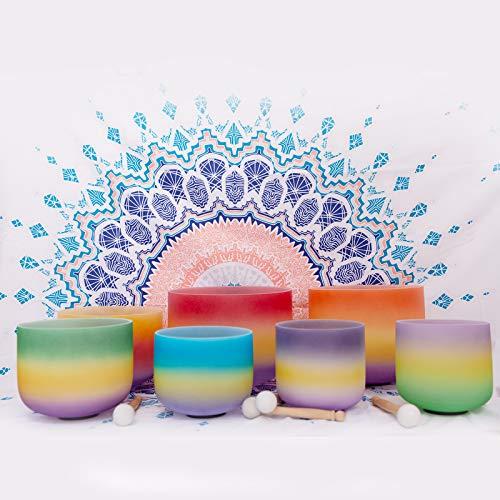 Juego de 7 cuencos de cristales de cuarzo esmerilados con diseño de chakras | ENERGYSOUND