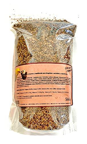 Alimento con Insectos y Frutas para pájaros insectívoros y Silvestres ( Canarios jilgueros, y similares) cria y Mantenimiento, 500 Gramos