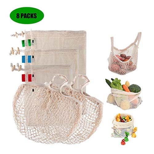GIEMSON 8 Packs Organic Cotton Mesh Produce Bags Reusable Produce Bags with Lightweight and Large load Zero Waste Washable Produce Bags for Grocery Shopping Storage